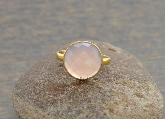 Silver Ring With Pink Faceted Chalcedony
