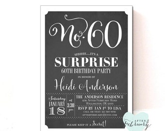 Surprise 60th Birthday Party Invitation - ANY AGES - Adult Birthday - Charcoal Black - 40th 50th 60th 80thPrintable No.321