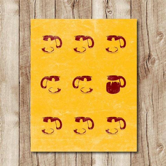 Mustard Yellow Kitchen Decor: Mustard Yellow Kitchen Coffee Print Distressed By