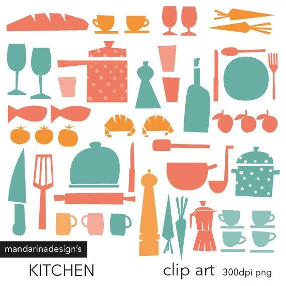 Vintage Kitchen Clipart Retro Kitchen Clip Art Pastel
