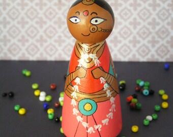 Draupadi - Handpainted Wooden Indian Golu Mahabharata Pandava Peg Doll