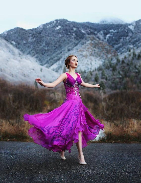 Hand Painted Hot Magenta Ballroom Gown