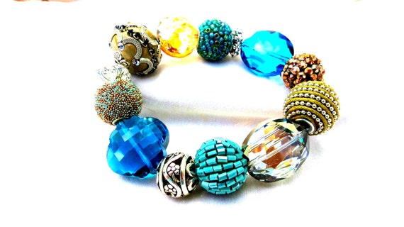 GLAM Big Silk Cord Polymer Clay Rhinestone Kashmiri Glass Crystal Metal Glass Beads Stretch Bracelet 124