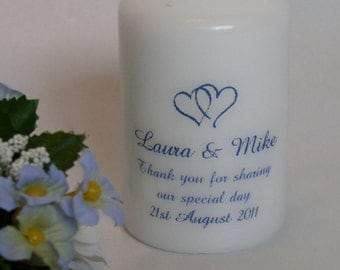 Personalised Wedding Favour candle in an organza bag