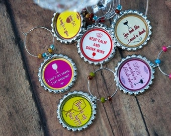 Wine, Wine charms, foodie gift, Funny wine charms, housewarming gift, birthday wine, anniversary gift, birthday,