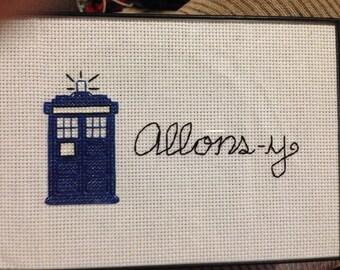 Allons-y w/ TARDIS, 5x7 Framed Cross-Stitch