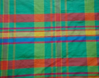 Bright Plaid Silk Fabric - Drapery Panel - Pinch Pleated Silk Drapery Panels - Silk Fabric By The Yard
