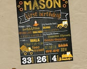 TRACTOR Construction Birthday Chalkboard Poster - Any Size