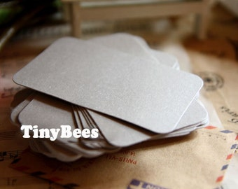 Glossy Blank Business Cards - Silver (20 pcs) Round Corner Business Card Colored Cardstock C0023