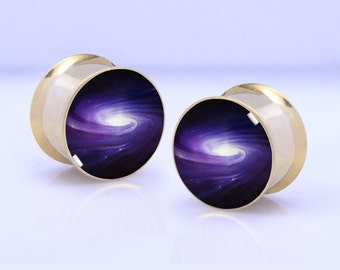 Galaxy  Plugs,-Pairs Titanium Anodized Double Flare Ear Plugs Tunnels Earlets Gauges