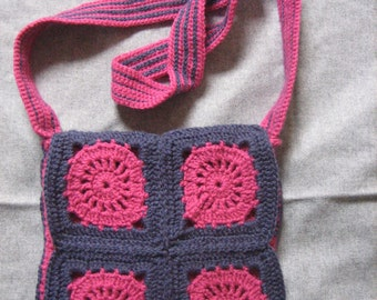 crochet blue/pink purse