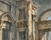 Architectural drawing Ink and wash drawing romantic ruins Italian 1740-1760 reproduction