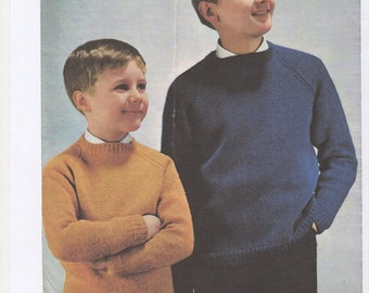 Boys Crew Neck Sweater, Boys Jumper, Boys double knitted sweater, 1960's sweater, retro kids sweater, kids jumper, boys knitting pattern