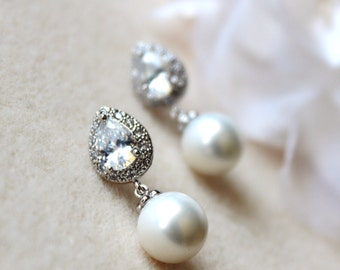 Pearl Bridal Earrings Pearl Wedding Jewelry White Pearl Earrings Teardrop Cubic Zirconia Post Earrings Wedding Jewelry