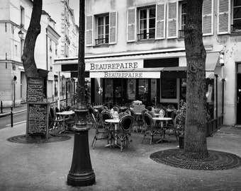 Paris black and white photography, Paris cafe, Paris photography, black and white photo, outdoor cafe, Paris decor, fine art print