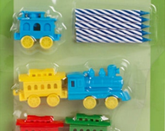 Train Birthday Candle Holders Cake Toppers Decorations