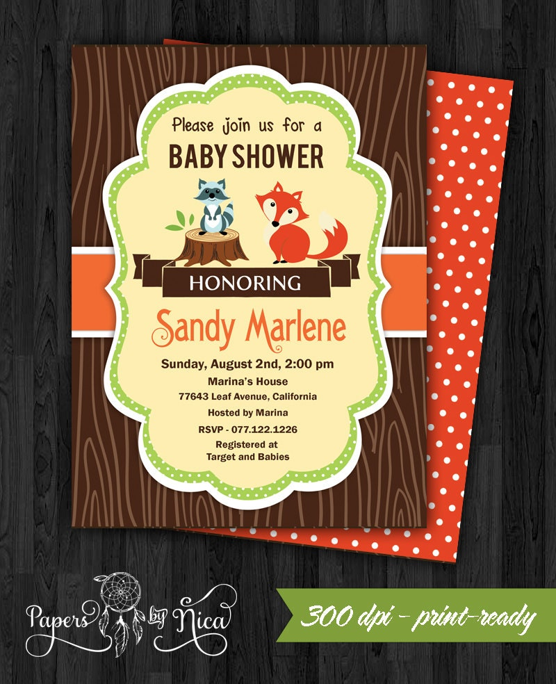 WOODLAND baby shower invitation forest animals wood grain