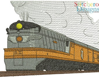 Steam Train Design -In Hoop sizes3x3, 4x4, 5x7 Wide- Instant Download - for Embroidery Machines