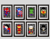 superhero wall art, superhero bedroom decor prints, set of 8, superhero wall art,  digital files, printable,  spiderman batman superman room