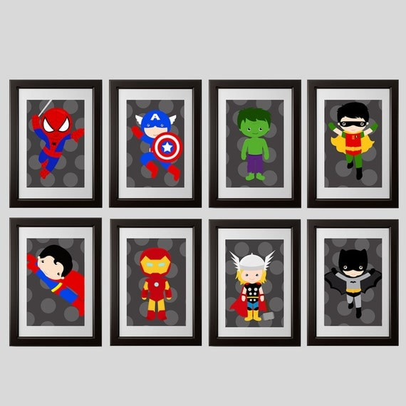 superhero wall art superhero bedroom decor prints set of 8