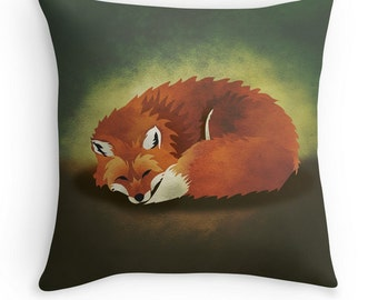 When Foxes Dream Throw Pillow