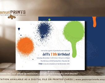 Paintball Birthday Party Invitation - Printed OR Digital File - by peanutPRINTS