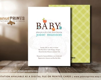 """The """"B"""" is for Baby Shower Invitation - Printed OR Digital File - by peanutPRINTS"""