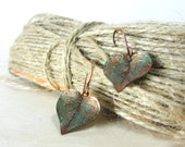 Leaf earrings --  copper leaves with green verdigris patina, handcrafted jewelry ...  aGiftofLaughter ..tagt copper green brown