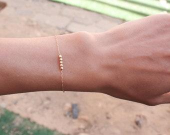 Tiny Gold Bracelet - dainty gold bracelet, minimal bracelet,14k gold filled tiny beads bracelet, Minimum Jewelry, jewelry gold bracelet