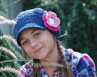Newsboy slouchy hat for girl, girl newsboy hat, winter hat, indigo cotton girl hat, hat with flower, choose you colors, made to order