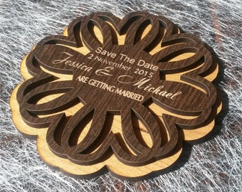 Wood Save-The-Date Magnets (20) / Engraved  Personalized Wooden magnets / Laser Cut Rustic Handmade Save the Date