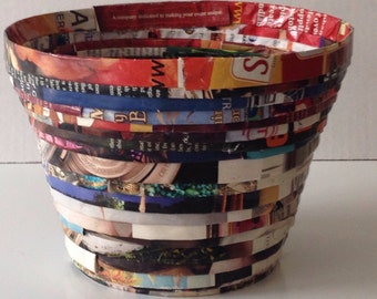 A recycled paper basket
