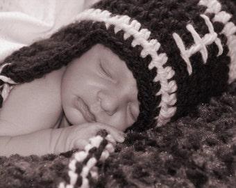 Crocheted Football Earflap Hat, Newborn Photo Prop, Sports Hat, Baby Football Hat, Adult Football Hat, Crochet Photo Prop