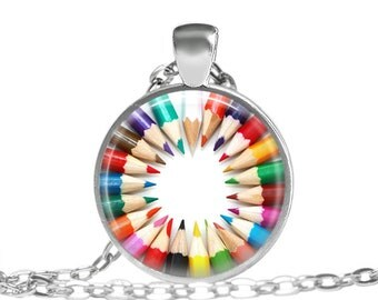 FREE SHIPPING Pencil necklace, Art pencil jewelry, Gift for artist pendant, Coloring pencil necklace, Gift for painters jewelry, Artistic co