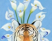Tiger Lily, tiger illustration with calla lilies and blue background, 8.5 x 11 Art Print Illustration Drawing Poster Wall Décor Wall Hanging
