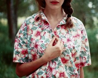 1980's Floral Blouse