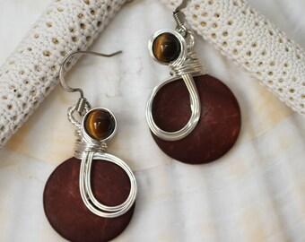 Brown Earrings, Tiger Eye Earrings, Tiger Eye Jewelry, Wire Wrapped Jewelry, Semi Precious Earrings, Earthy Colors, Wirework Earrings
