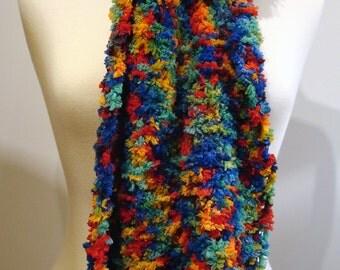 Handmade long soft multicolored scarf