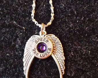 Bullet Casing Necklace w/ open angel wing