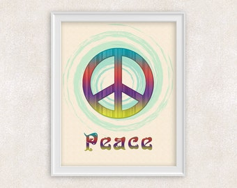 Peace Symbol Art Print - 8x10 PRINT - Colorful Home Decor - Item #505-B