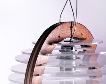 Small Pendant Lighting , Pendant Lamp , Modern Chandelier , Light Fixture , Wood and Perspex Pendant Light , Home Decor