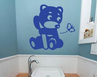 Teddy Bear wall decal Kids wall decal Nursery wall decal Modern wall decal Animal wall decal Nursery Teddy Bear wall decal Pink Bear Bear