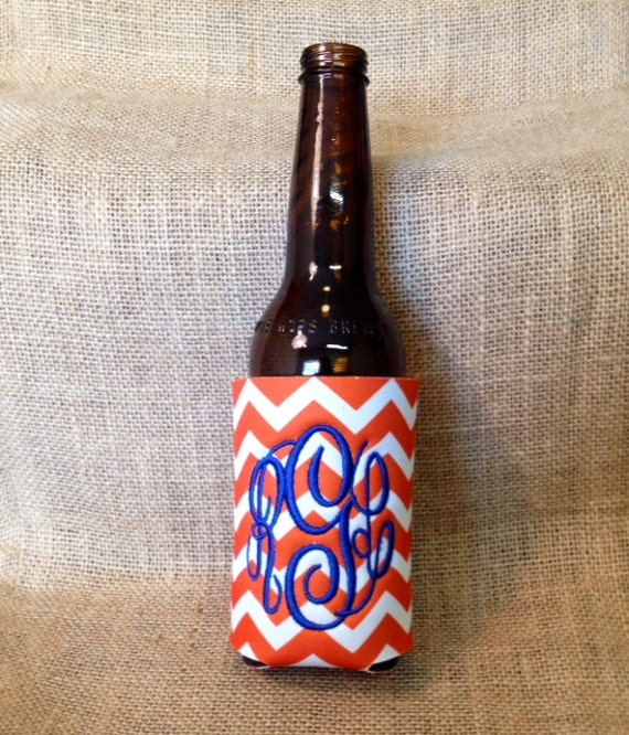 Monogrammed Can Sleeve, Personalized Beer Hugger, Monogrammed Gifts, Beer Gifts, Tailgate Party Favors, Orange Chevron, Orange and Blue