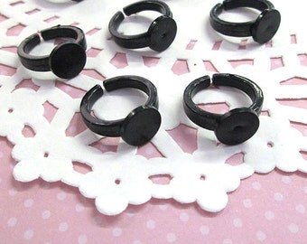 Children's ring, black Acrylic base with a 9mm glue pad,  size 3, A386