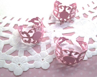 5pc Light Pink Filigree Enamel Rings 8mm Pad A165