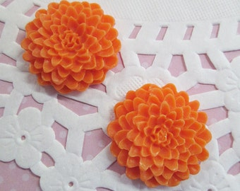 Orange 25mm Mum Flower Cabochons, Chrysanthemum Cabs, E247