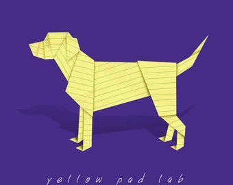 Yellow Lab art - Print of origami Labrador Retriever made from yellow pad