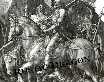 "Albrecht Durer ""Knight, Death and the Devil"" 1513 Reproduction Digital Print Armored Knight Dog Devil Death Gothic"