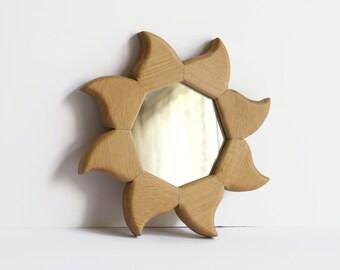 Wooden Sunburst Mirror - Handmade Oak Reclaimed Wood Wall Mirror - Home Decoration - Octagonal Sun Mirror