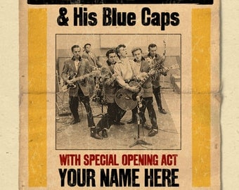 """Your Name on a Gene Vincent concert poster 12""""x18"""" digital heavy poster - you are the opening act"""
